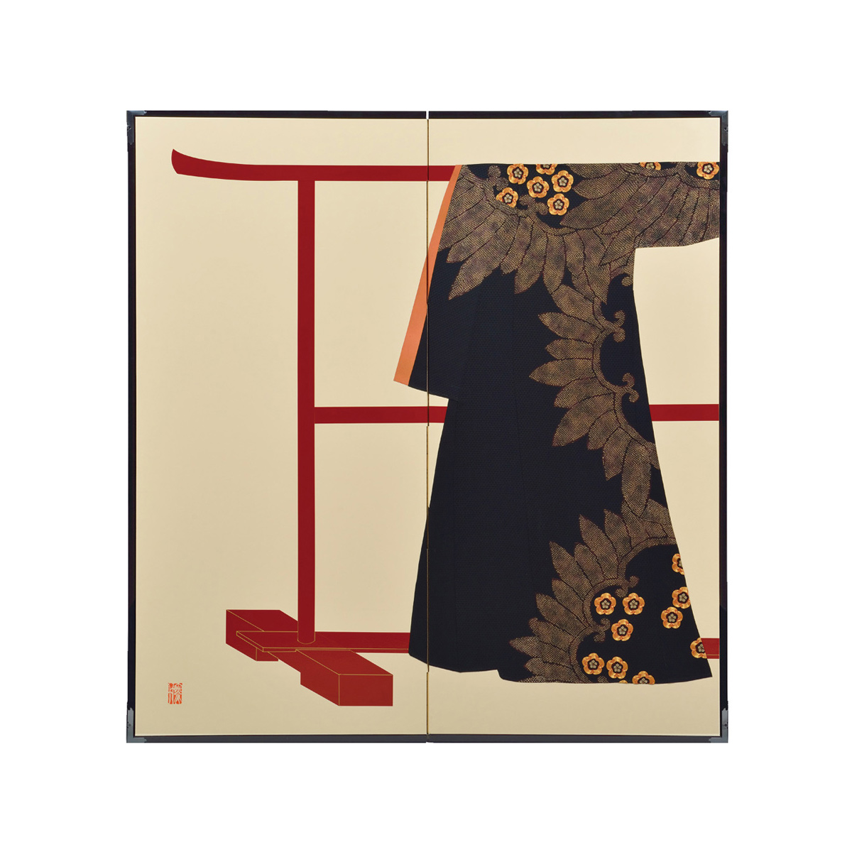 梅花入輪葉模様・鳥の子・たが袖元禄小袖復元屏風・黒竹節人プロデュース・京都くろちく