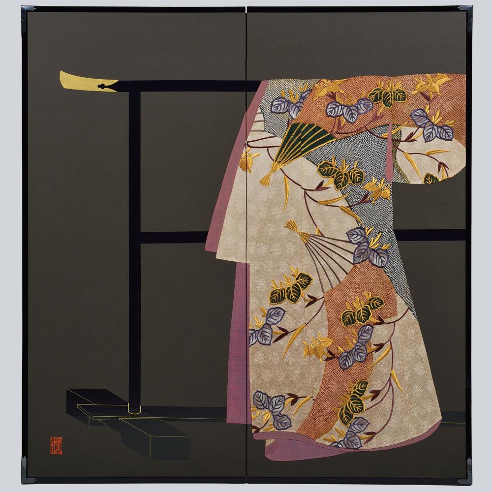杜若扇面模様・黒・たが袖元禄小袖復元屏風・黒竹節人プロデュース・京都くろちく