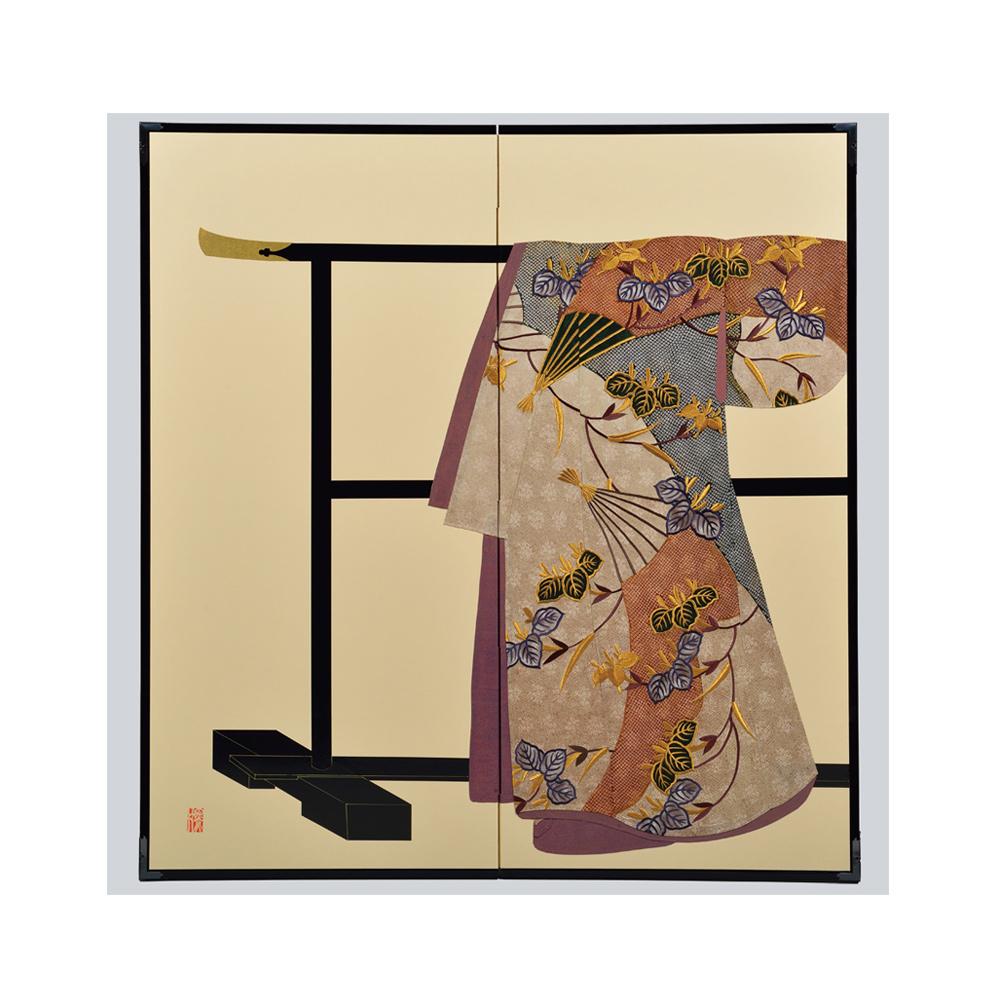 杜若扇面模様・鳥の子・たが袖元禄小袖復元屏風・黒竹節人プロデュース・京都くろちく