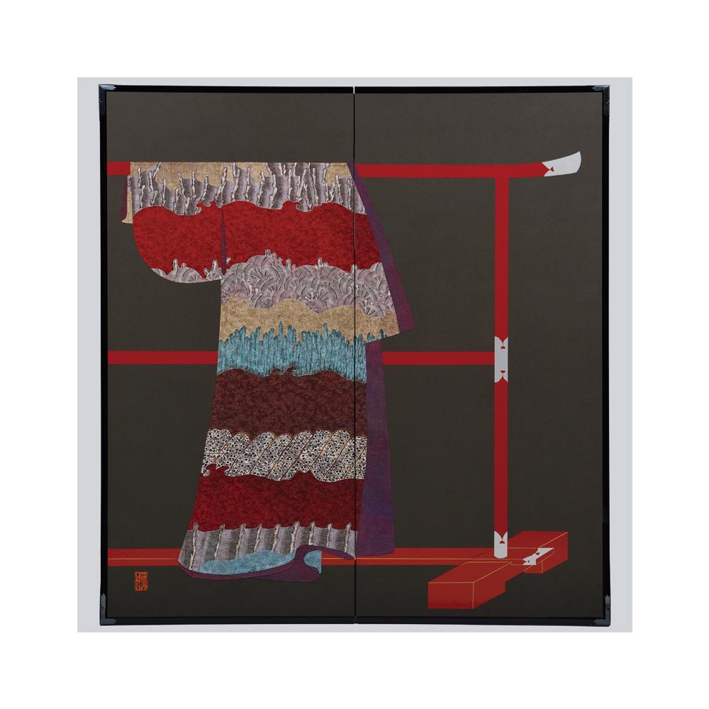 蛇籠杭模様・黒・たが袖元禄小袖復元屏風・黒竹節人プロデュース・京都くろちく