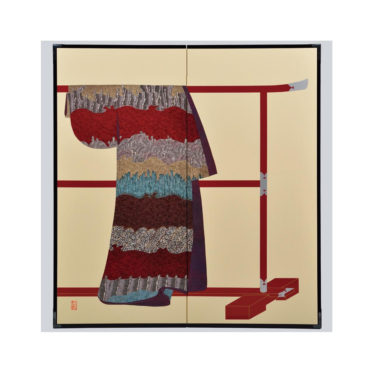 蛇籠杭模様・鳥の子・たが袖元禄小袖復元屏風・黒竹節人プロデュース ・京都くろちく