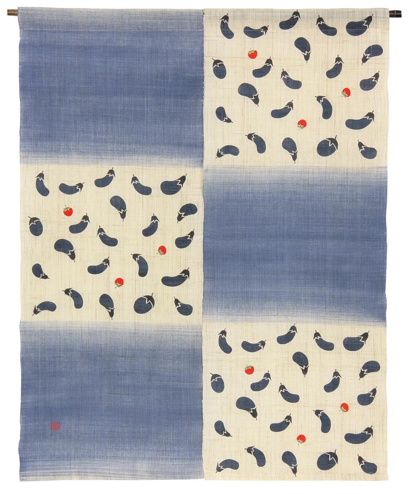 型染のれん120・茄子小紋【京都くろちく和雑貨】暖簾【楽ギフ_のし】