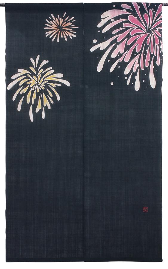 筒描のれん150・いろどり花火・京都くろちく・本店 公式ショップ・暖簾【楽ギフ_のし】