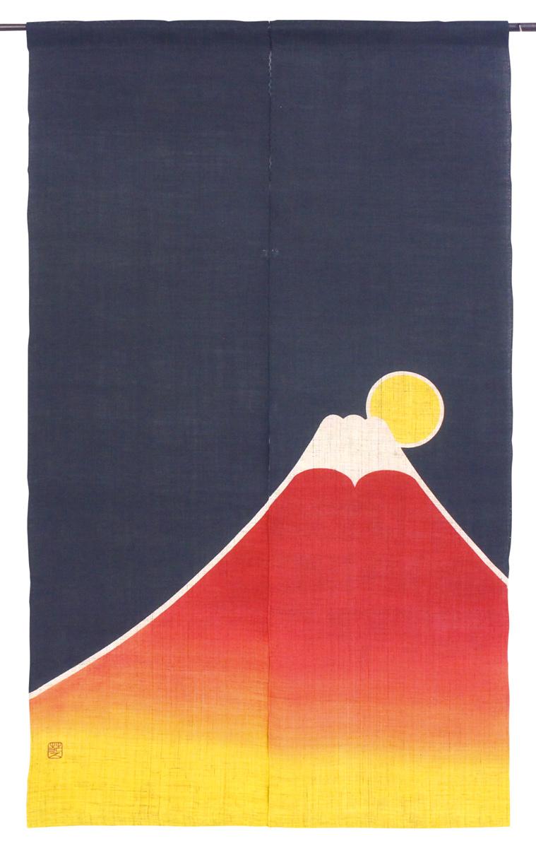 迎春・筒描のれん150・招福赤富士・京都くろちく・本店・公式ショップ・暖簾