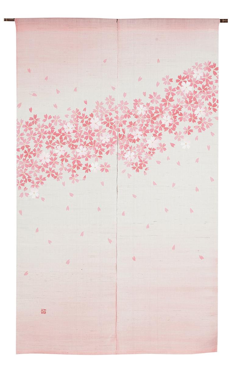 型染のれん150・絢爛こぼれ桜【京都くろちく和雑貨】暖簾【楽ギフ_のし】