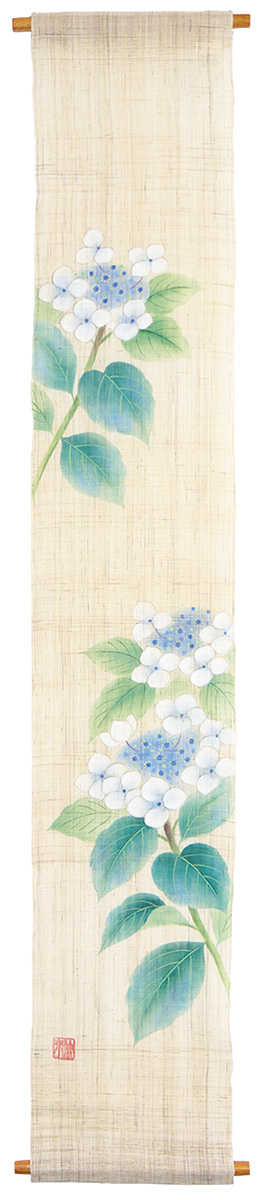手描タペストリー120・咲き匂う額紫陽花・京都くろちく 本店・公式ショップ【楽ギフ_のし】
