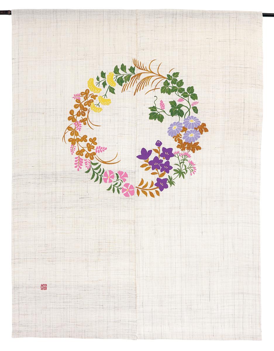 型染のれん120・七草紋・京都くろちく・本店 公式ショップ・暖簾【楽ギフ_のし】
