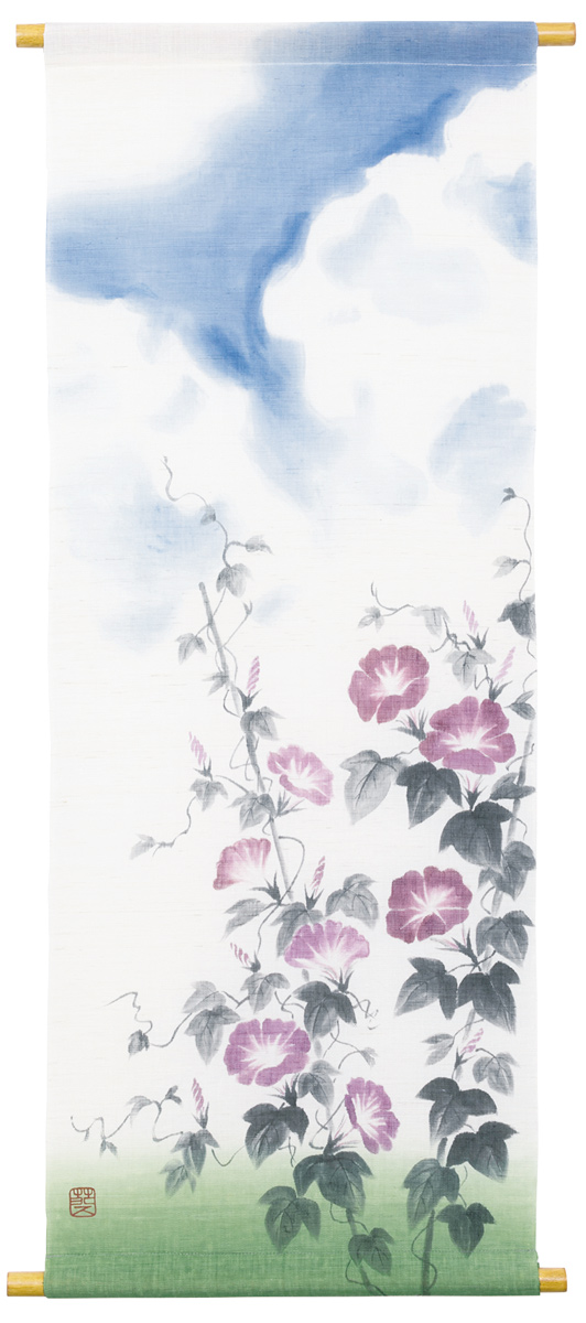 墨描タペストリー120・清夏入道雲に朝顔・京都くろちく・本店 公式ショップ【楽ギフ_のし】
