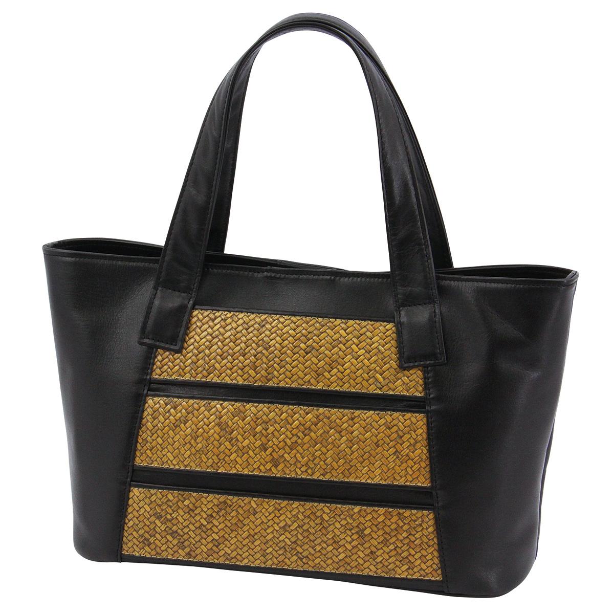 網代ポケット付トート横縞・黒*こちらの商品には小袋はおつけできません・くろちく・本店