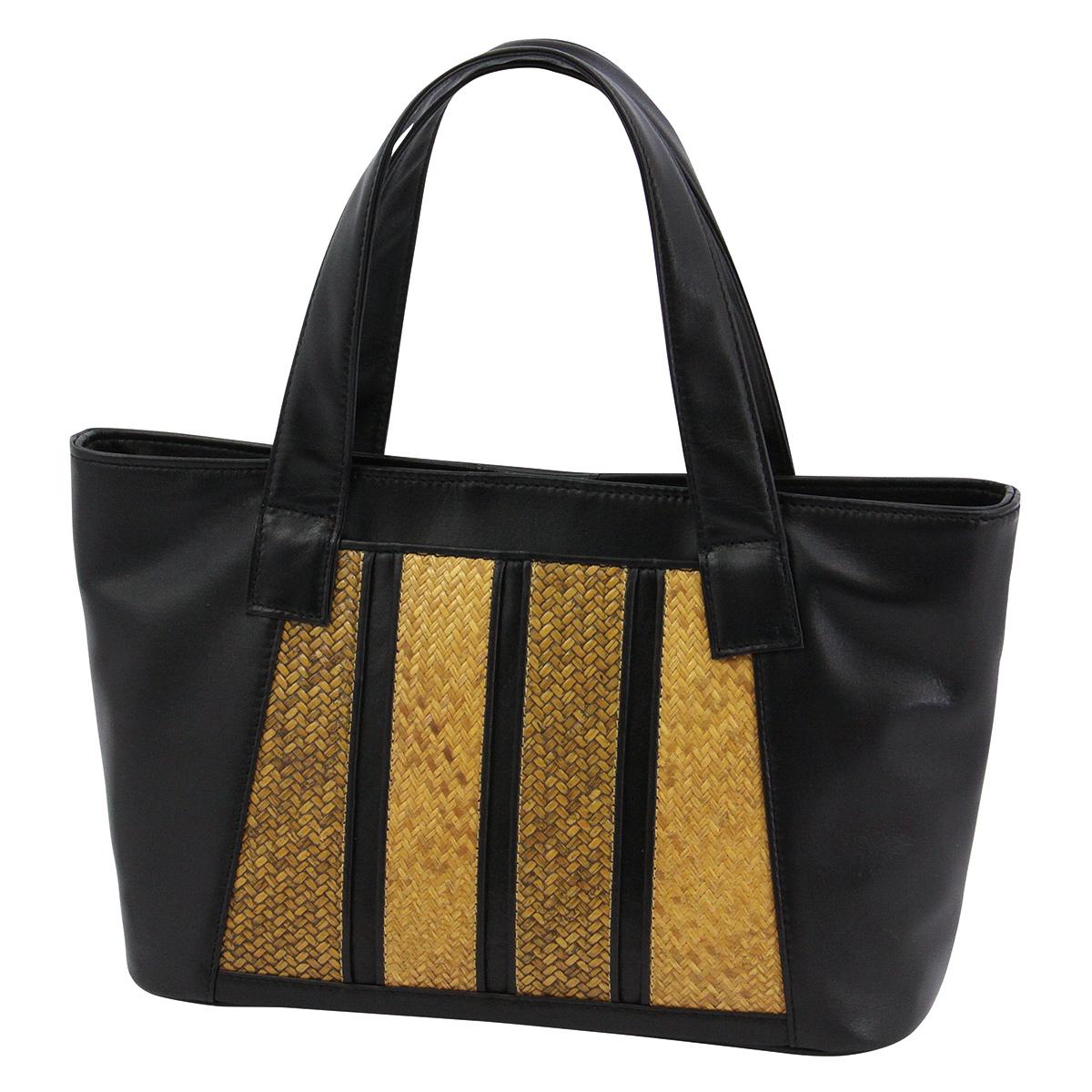 網代ポケット付トート縦縞・黒*こちらの商品には小袋はおつけできません・くろちく・本店