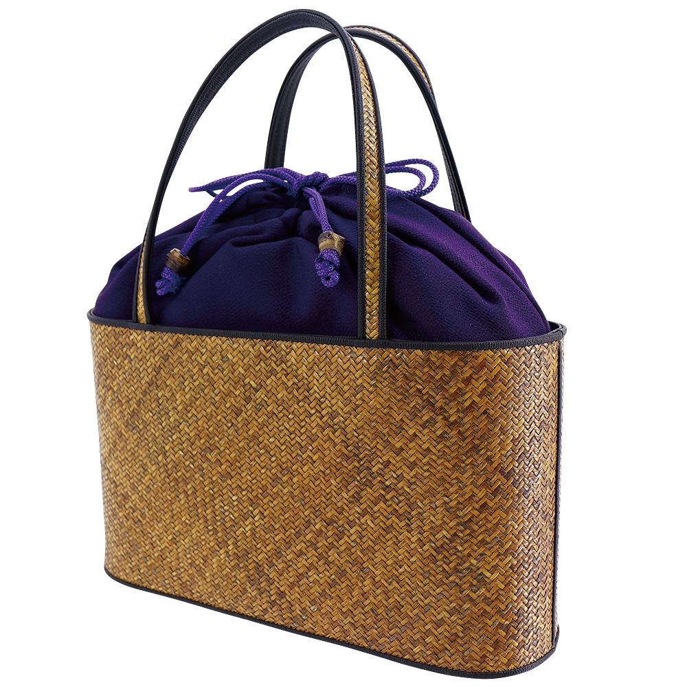 網代バッグ・二本手手提げ 無地 古代紫*こちらの商品には小袋はおつけできません・くろちく・本店