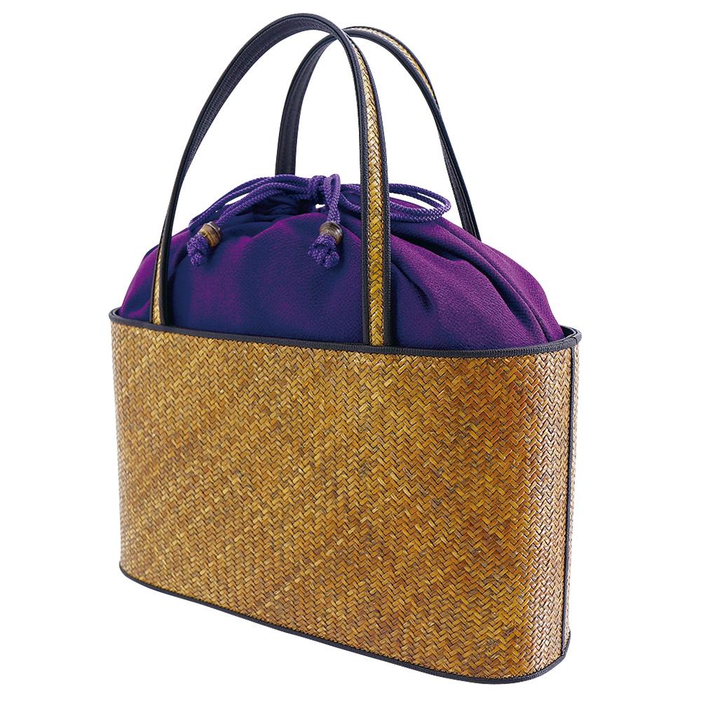 網代バッグ・二本手手提げ 無地 紫*こちらの商品には小袋はおつけできません・くろちく・本店