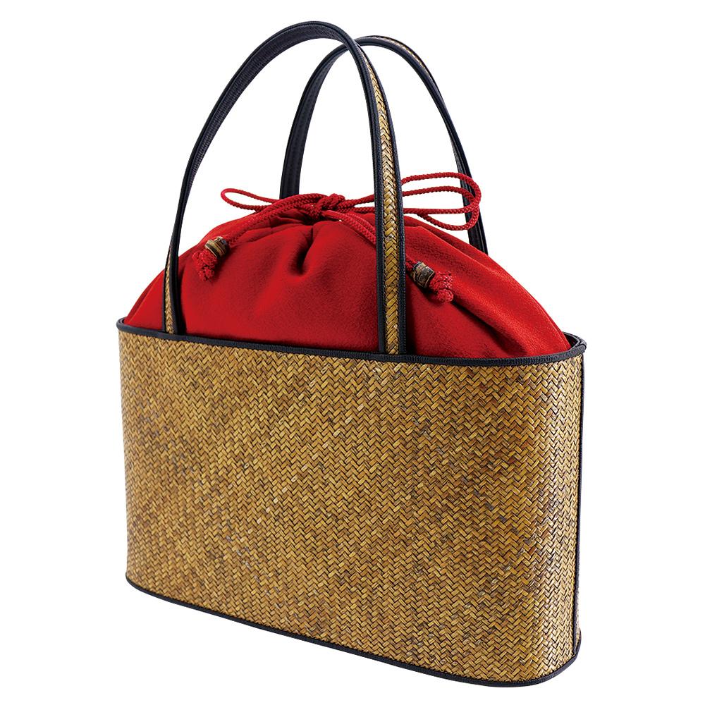 網代バッグ・二本手手提げ 無地 赤*こちらの商品には小袋はおつけできません・くろちく・本店