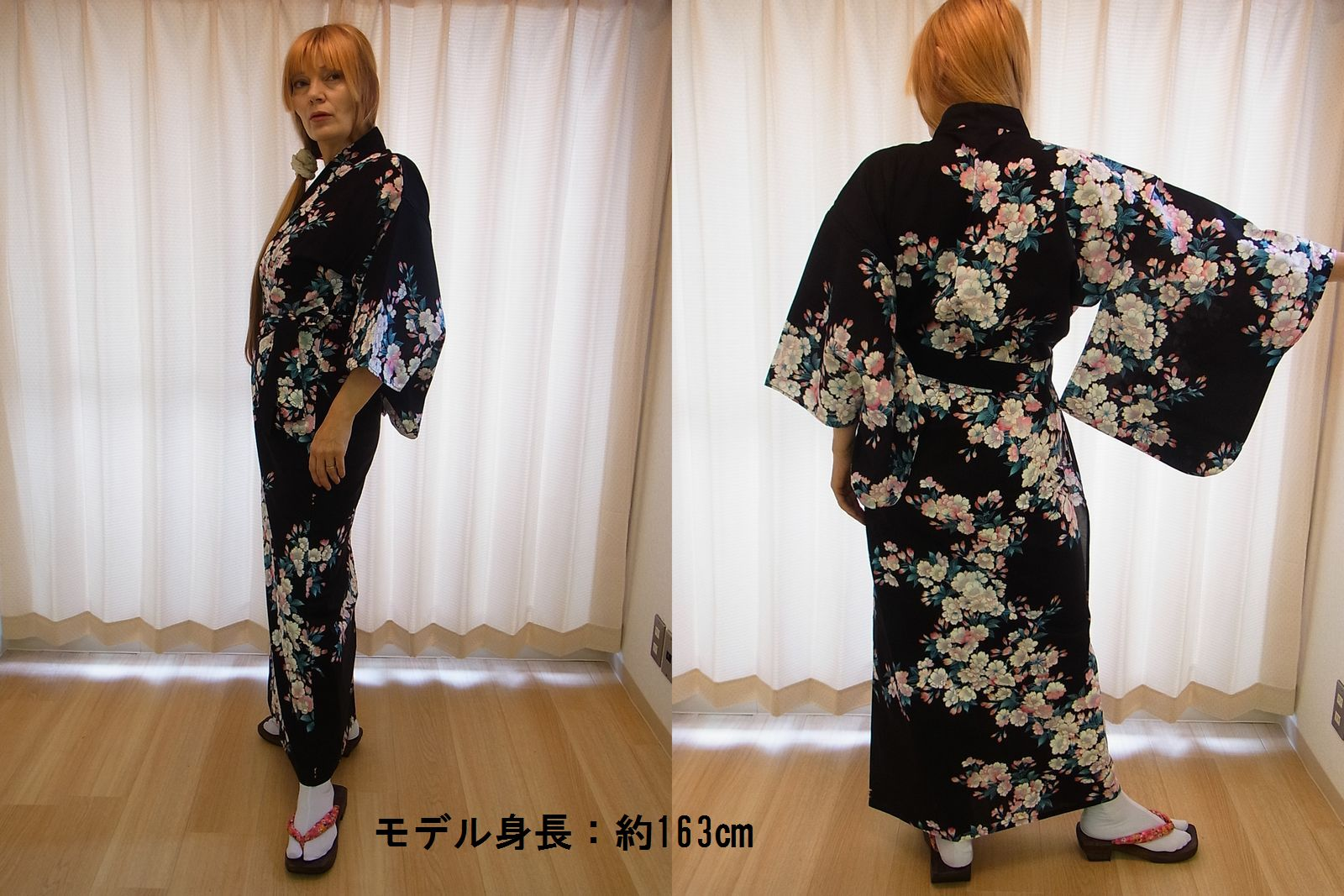 日本のお土産|日本のおみやげホームステイ おみやげ|日本土産◆外国人向け浴衣【桜】女性用(M)