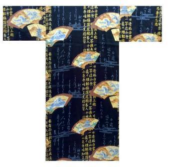 【日本のおみやげ】◆外国人向け着物【扇子文字】男性用(フリーサイズ)