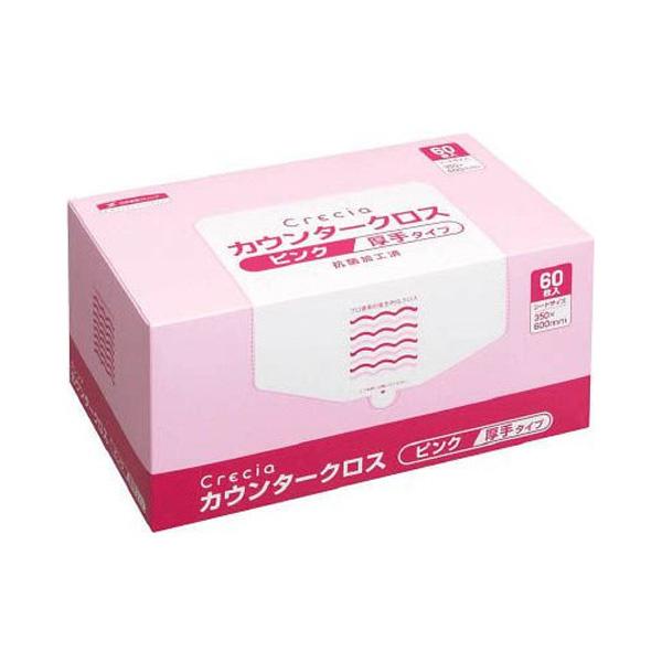 ○お取り寄せ商品 送料無料 クレシア カウンタークロス厚手 ピンク 60枚 60枚×6ボックス 11002
