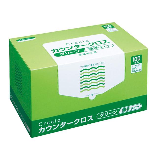 ☆○お取り寄せ商品 送料無料 クレシア クレシア カウンタークロス 薄手タイプ グリーン×6ボックス 10999