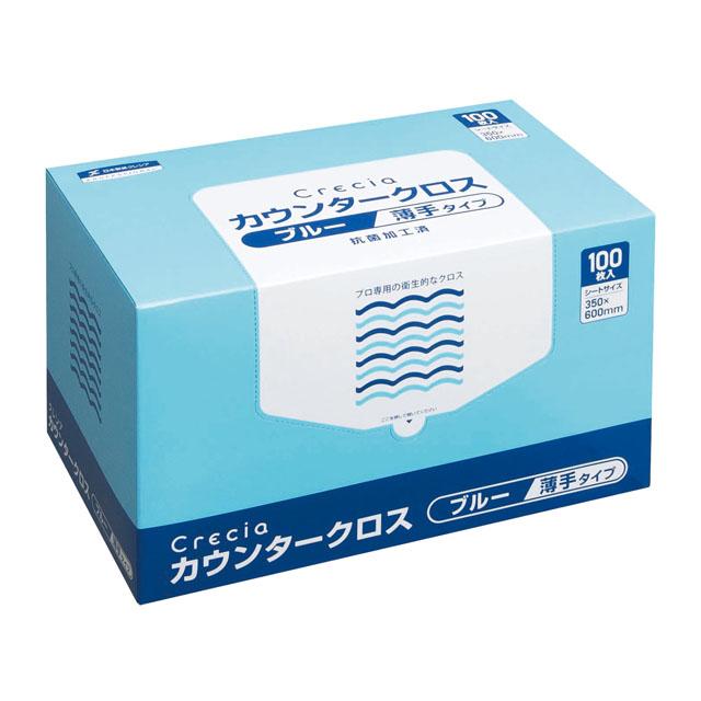 ☆○お取り寄せ商品 送料無料 クレシア クレシア カウンタークロス 薄手タイプ ブルー×6ボックス 11001