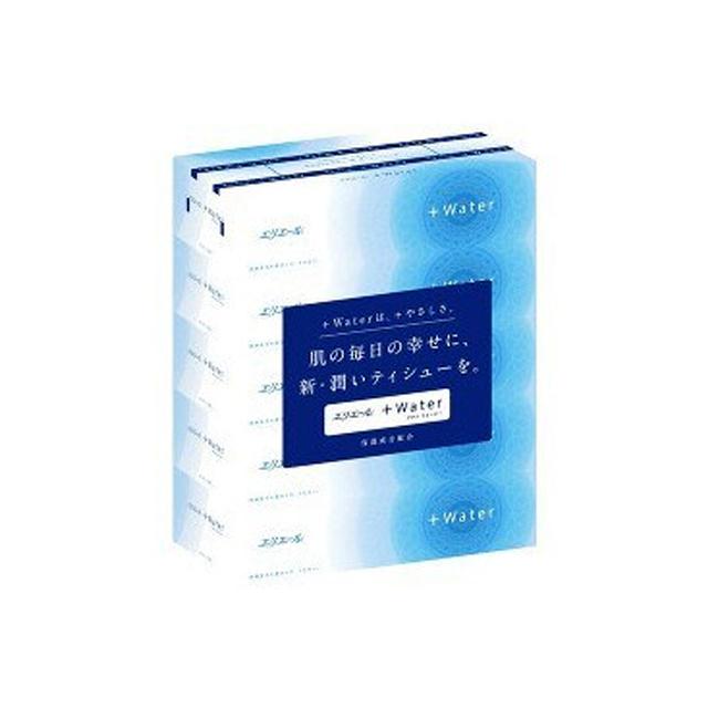 ボックスティッシュペーパー 花粉症 インフルエンザ の時期に ティッシュペーパー 国際ブランド 保湿 エリエールプラスウォーター ティシュー 日本製 00157 180組5箱×10パック 送料無料 まとめ買い