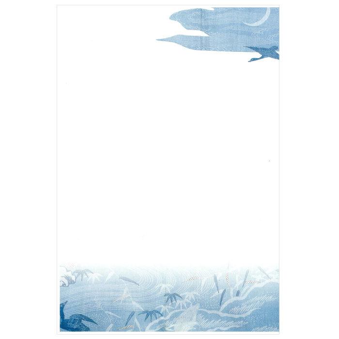 日本の名品を絵はがきでお届け DM便可 絵はがき〈浅葱麻地 NK-007 水辺に芦鴨文様〉 即納 在庫処分
