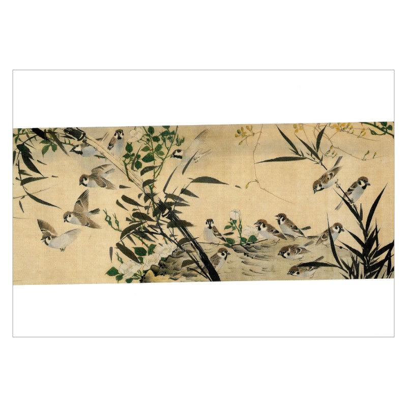 夏のおたよりにおすすめです すずめ 限定品 雀 日本画 DM便可 〉長澤芦雪 物品 絵はがき〈花鳥蟲獣図巻 曾道怡筆 部分