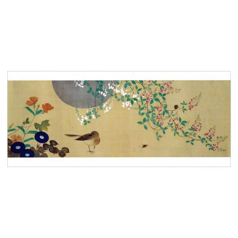 日本の名品を絵はがきでお届け 秋 草 販売 花 萩 琳派 秋〉酒井抱一筆 TW-003 長型はがき〈四季花鳥図巻 DM便可 安値 部分