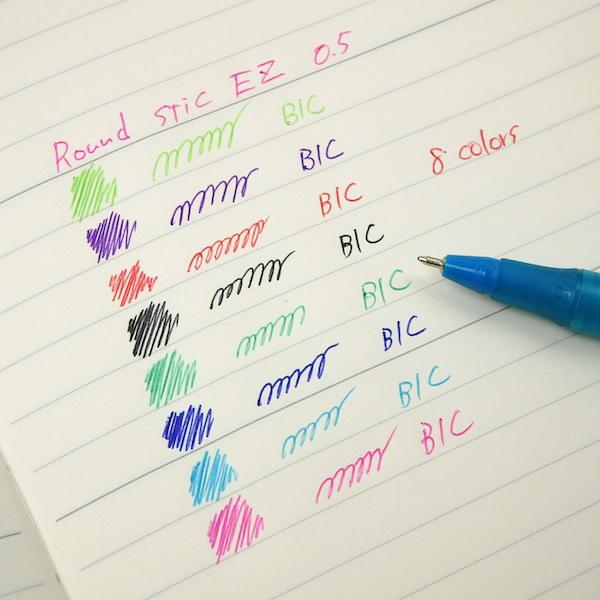 BIC 圆 STIC EZ (0.5) 8 颜色集的 colorinkballpen 集