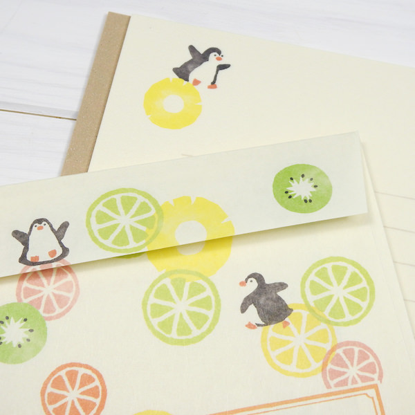 Letterset, spring-limited tropical fruits and penguin of the relief  stationery stamp using the Furukawa paper processing Mino Japanese paper