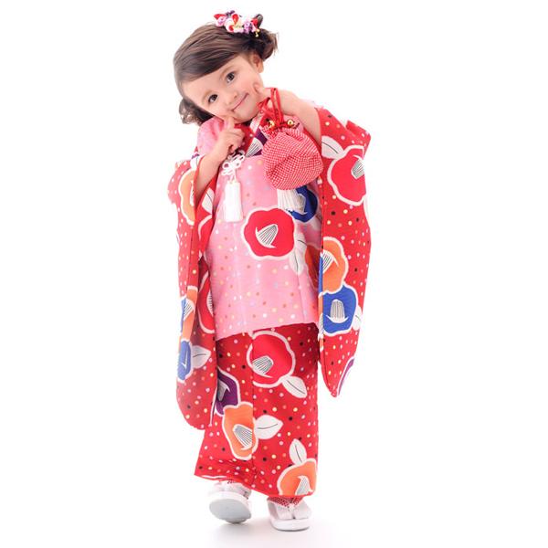 【お買い物マラソン】【レンタル】KAGURA ブランド 被布コート 11点フルセット【3歳 三歳 貸衣装 七五三】子供 女児 ひな祭り お正月【往復送料無料】赤 ピンク ドット椿