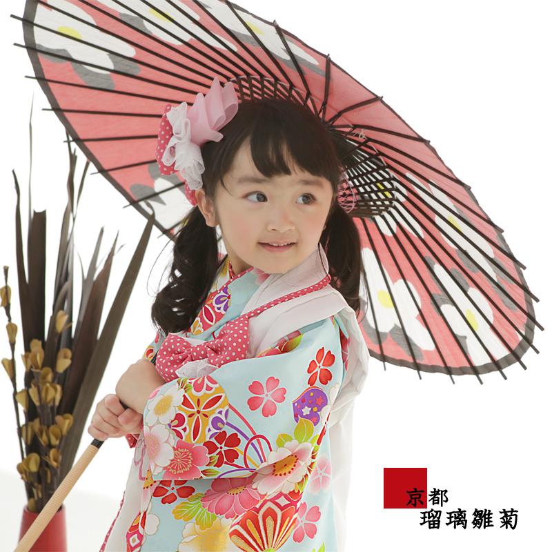 七五三 着物 被布セット 着物 3才 『 桜くすだま(水色) 』 こども 子供 子供用 お祝い着 753