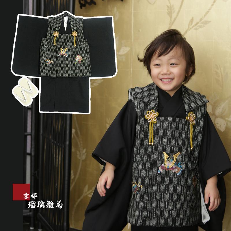 男の子 3歳 着物 被布セット 被布 5点セット お正月 誕生日 七五三 3才 5才 三歳 五歳 子供 日本製 肩上げ&腰上げ加工済