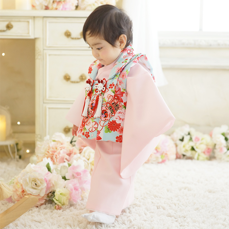 1-year-old kimono 被布 set baby girl's first Festival Hinamatsuri Hina festival celebrating birth birthday 80 cm pink friends and colleagues