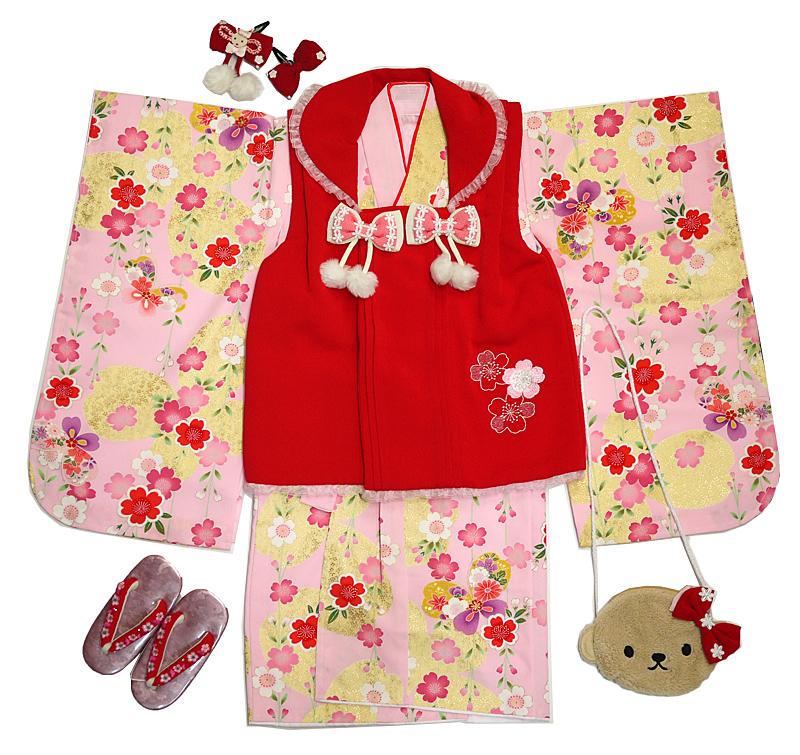 七五三 着物 3歳 被布セット 女の子 「桜りぼん」送料無料 あす楽 七五三着物 子供 こども お祝い着 着物 襦袢 草履 セット きもの