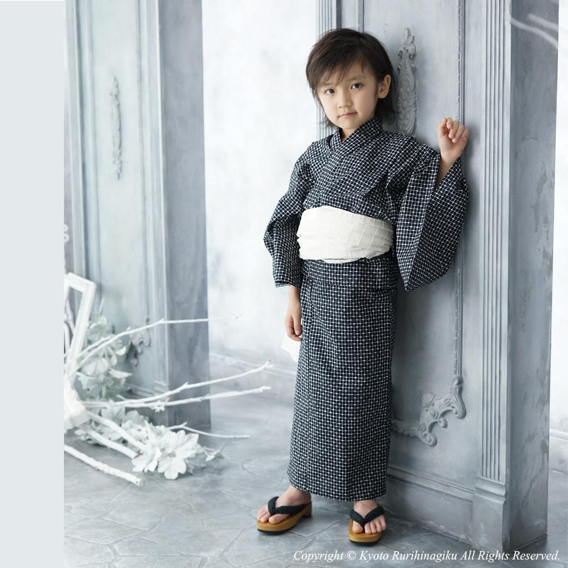 «蒂姆出售» 男孩和服黑色 × 紫色和服只有高初中 140 150 初中上部黑紫色和服兒童浴衣小孩和服男孩簡單 !