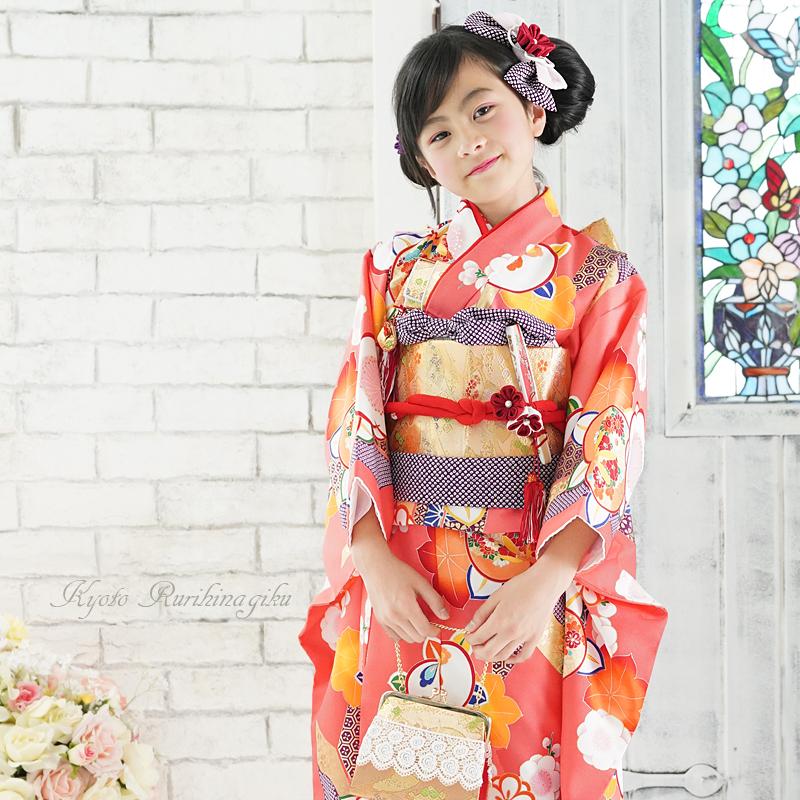 七五三 着物 7歳 フルセット 購入 レトロ モダン きもの 四ツ身 女の子 七才用 子供用振袖 京都