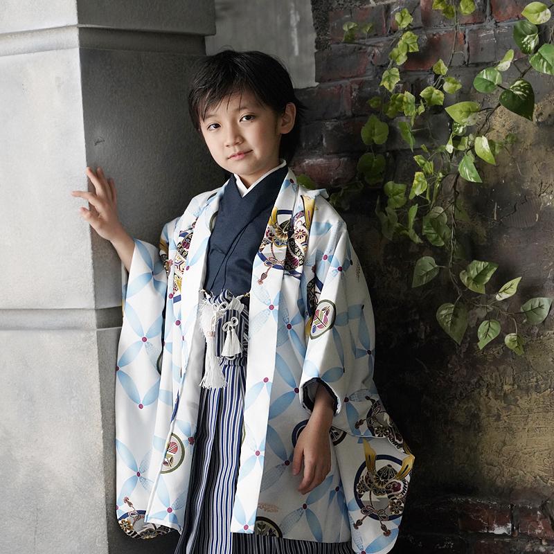 七五三 男の子 5歳 袴 七宝 着物 セット 羽織袴セット はかま フルセット 5歳 5才 五歳 着物セット 販売 袴が簡単に着れるアジャスター付き