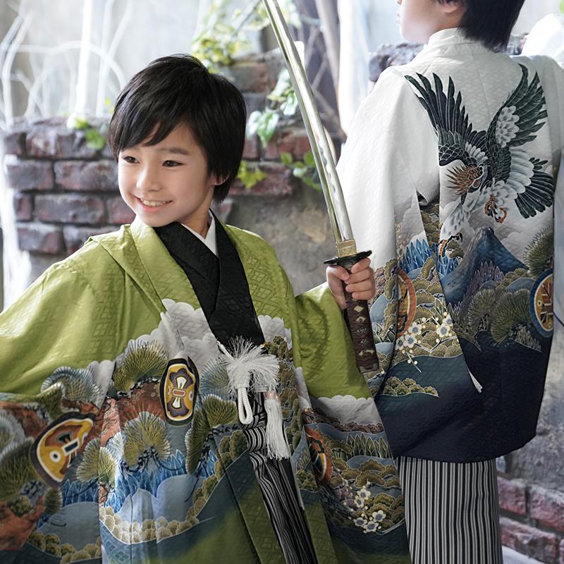 七五三 男の子 5歳 着物セット 袴 保証 はかま フルセット 販売 着物 購入 キッズ 営業 シンプル 五歳 5歳 5才 羽織袴セット 鷹 セット 富士山