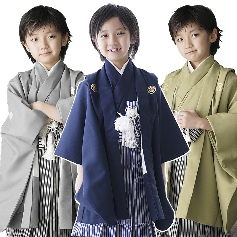 七五三 着物 男の子 フルセット 袴 無地 シンプル 紋付 紋付袴 羽織袴セット はかま セット 5歳 5才 五歳 着物セット 販売