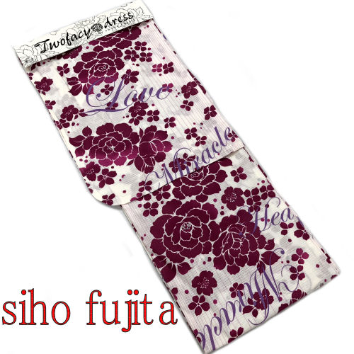 【送料無料】SIHO FUJITA 藤田志穂 浴衣 お仕立て上がり ブランド浴衣 YUKATA フリーサイズ レディース ゆかた 単品 綿100% 白 ホワイト パープル 紫