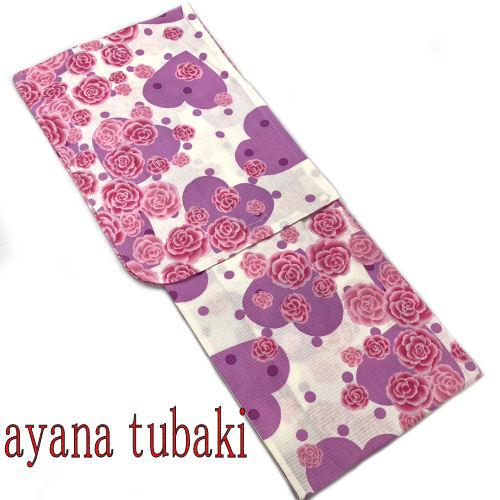【送料無料】AYANA TUBAKI 椿姫彩菜 浴衣 お仕立て上がり ブランド浴衣 YUKATA フリーサイズ レディース ゆかた 単品 綿100% 白 ホワイト ピンク パープル