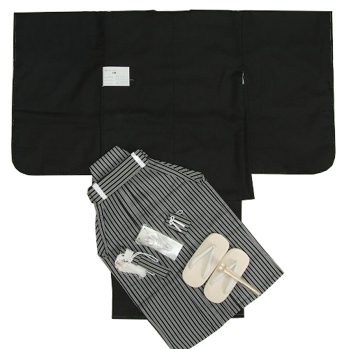 七五三 着物 男 着物袴セット 黒無地羽織着物 紋付タイプ 縞袴 5歳用 12点セット 足袋付きセット