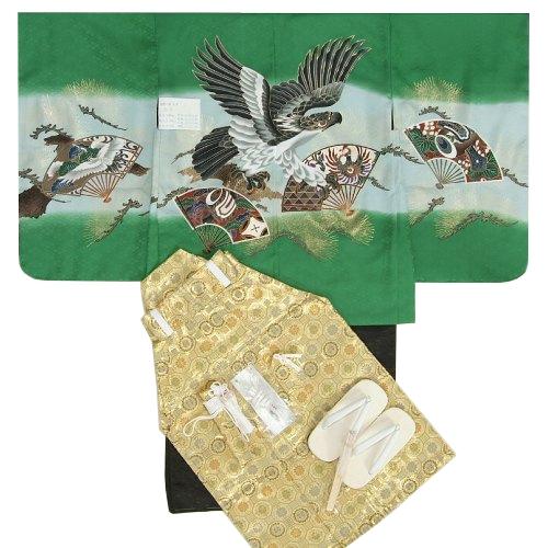 七五三 着物 男児着物袴セット 濃グリーン 鷹 舞扇子 金襴紋袴 5歳用  12点セット 足袋付きセット