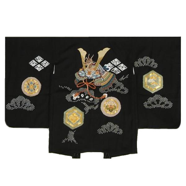 七五三男児着物 正絹羽織単品 総刺繍兜 黒 手絞り 金コマ刺繍 サヤ地紋 五歳用大 日本製