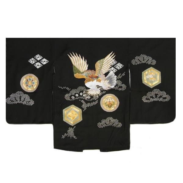 七五三男児着物 正絹羽織単品 総刺繍見返り鷹 黒 手絞り 金コマ刺繍 サヤ地紋 五歳用大 日本製