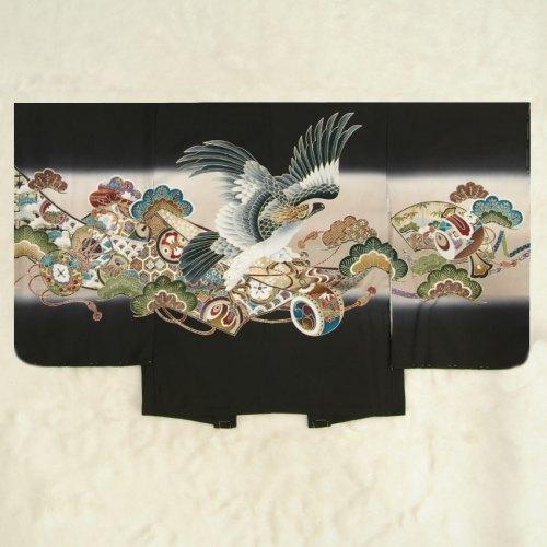 七五三男児着物 正絹羽織単品 鷹 黒ベージュぼかし染め 金彩使い 精華生地 五歳用 日本製