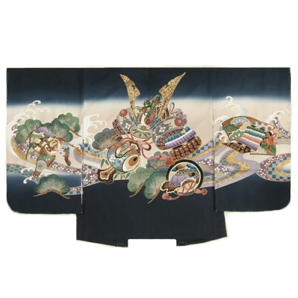 七五三男児着物 正絹羽織単品 兜 紺ベージュぼかし染め 金彩使い 精華生地 五歳用 日本製