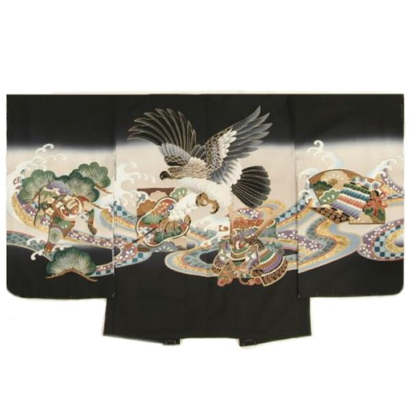 七五三男児着物 正絹羽織単品 鷹 軍配 黒ベージュぼかし染め 金彩使い 精華生地 五歳用 日本製