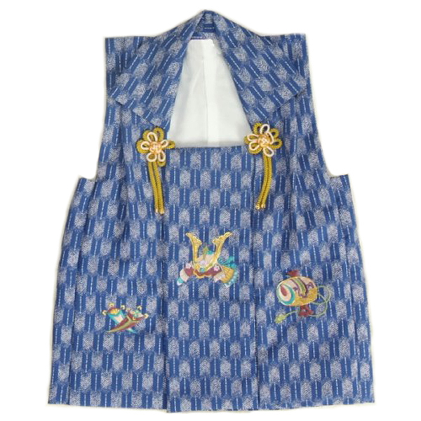 七五三着物男の子 被布単品 ブルー色 兜刺繍 金コマ刺繍 矢絣地柄文様 日本製