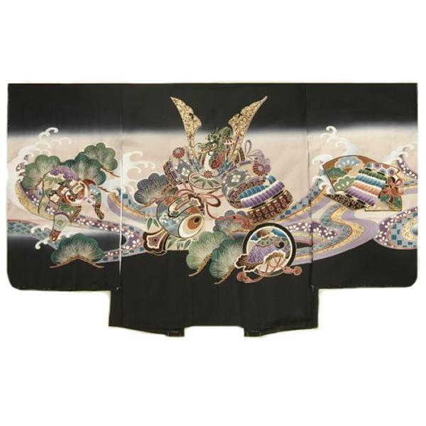 七五三男児着物 正絹羽織単品 兜 黒ベージュぼかし染め 金彩使い 精華生地 五歳用 日本製