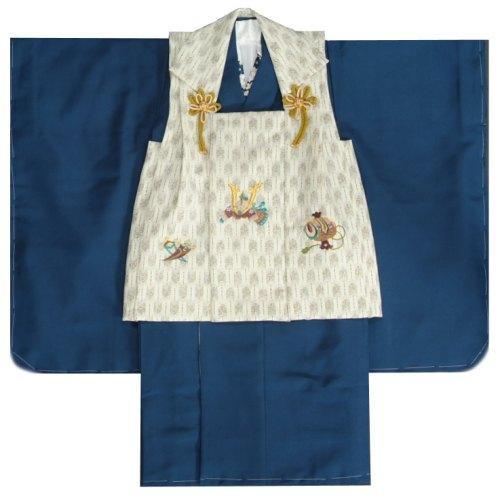 七五三 贈答品 3歳 男の子 男児 被布 被布セット 販売 日本製 被布矢絣オフホワイト色 刺繍半襟に足袋付きセット 一部予約 無地 被布着物セット 紺